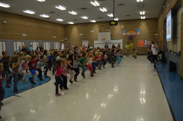 Ashton and Brianne Eaton  join Eagle Hills Elementary in GoNoodle games.