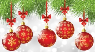 Christmas tree branches with red balls